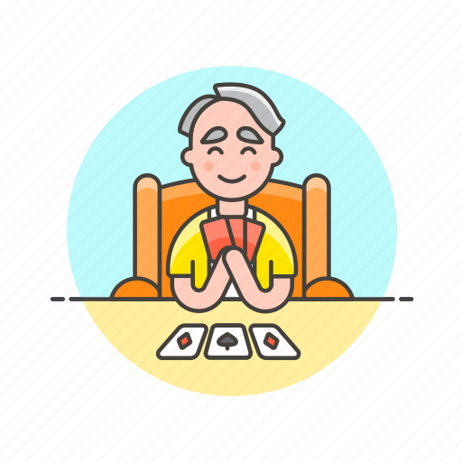 card, elder, fun, game, lifestyle, man, play, social icon