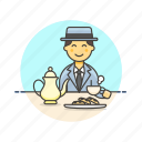 dessert, english, lifestyle, man, party, relax, tea icon