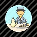 asian, english, lifestyle, male, party, tea icon