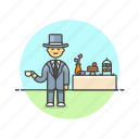 celebration, dessert, english, formal, lifestyle, man, party, tea icon