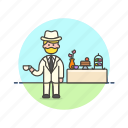 dessert, english, formal, lifestyle, man, party, tea icon