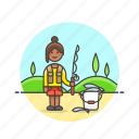 bucket, catch, fisherman, food, lifestyle, pole, woman icon