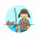 bait, boat, catch, fisherman, food, lifestyle, pole, woman icon