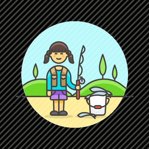 bucket, catch, fisherman, food, hobby, lifestyle, woman icon