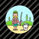 bucket, catch, fisherman, food, lifestyle, pole, woman icon
