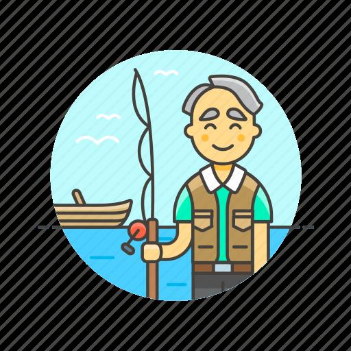 catch, fisherman, food, hobby, lifestyle, man, pole icon