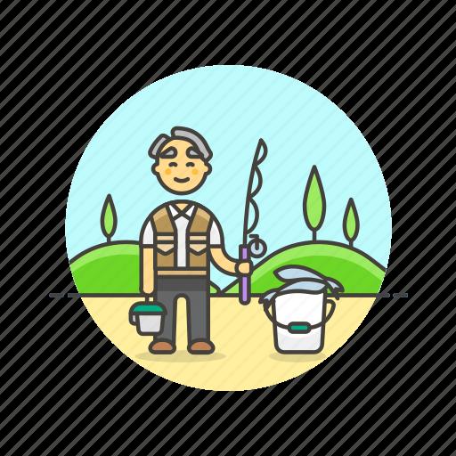 bait, bucket, fisherman, food, hobby, lifestyle, pole icon