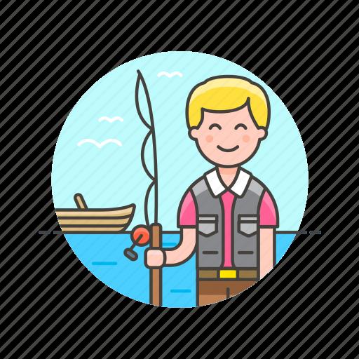 bait, catch, fisherman, food, lifestyle, man, pole icon