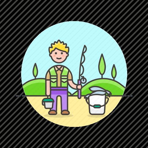 bucket, catch, fisherman, food, hobby, lifestyle, man, pole icon