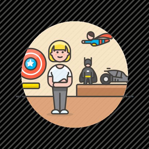batman, collector, hero, lifestyle, model, superman, woman icon