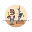 builder, hobby, lifestyle, model, museum, robot, woman icon