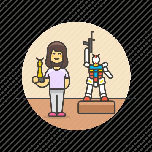 art, builder, craft, hobby, lifestyle, model, robot, woman icon