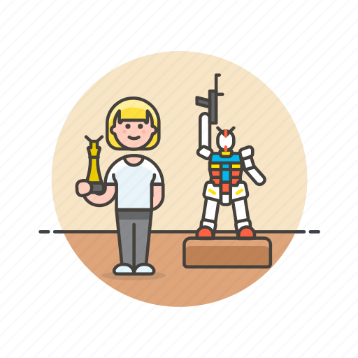 builder, craft, hobby, lifestyle, model, museum, robot, woman icon