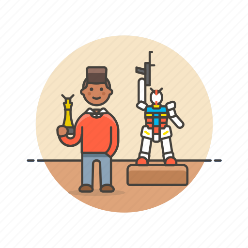 builder, craft, hobby, lifestyle, man, model, museum, robot icon