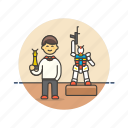 art, builder, craft, hobby, lifestyle, man, model, robot icon