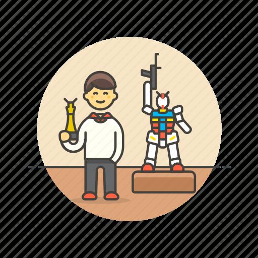 art, builder, craft, hobby, lifestyle, man, model, robot icon