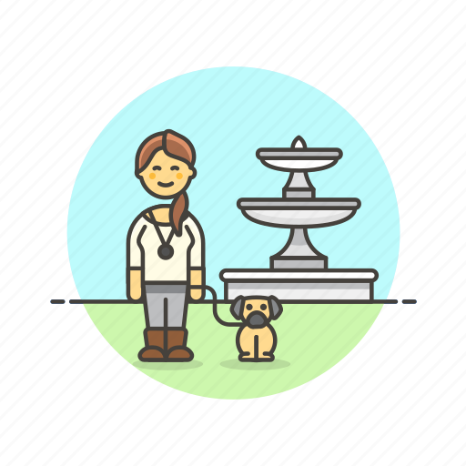 dog, exercise, lifestyle, lover, pet, walk, woman icon