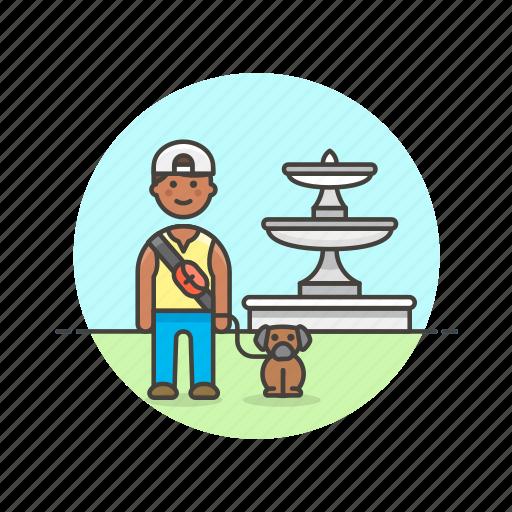 dog, exercise, hobby, lifestyle, lover, man, pet, walk icon
