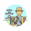 bench, dog, lifestyle, lover, man, pet, sit, walk icon
