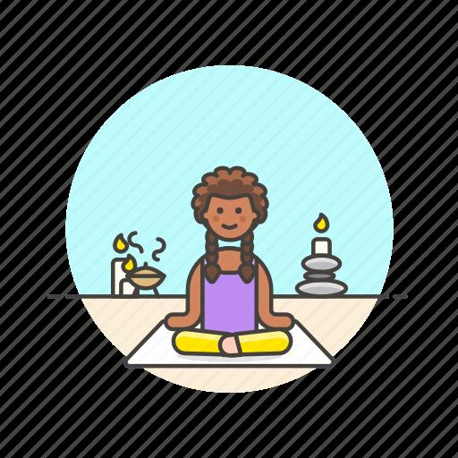hobby, lifestyle, meditation, relax, spa, woman, yoga, zen icon