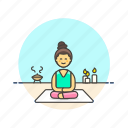 hobby, lifestyle, meditation, relax, spa, woman, zen icon