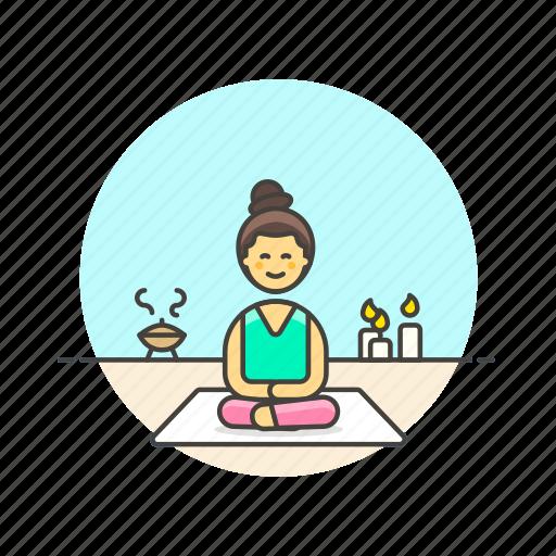 hobby, lifestyle, meditation, relax, spa, woman, zen icon