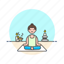 lifestyle, meditation, relax, spa, woman, yoga, zen icon