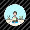 lifestyle, meditation, relax, spa, woman, yoga, zen icon