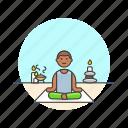 lifestyle, man, meditation, relax, spa, yoga, zen icon