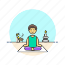 body, hobby, lifestyle, man, meditation, relax, spa, zen icon