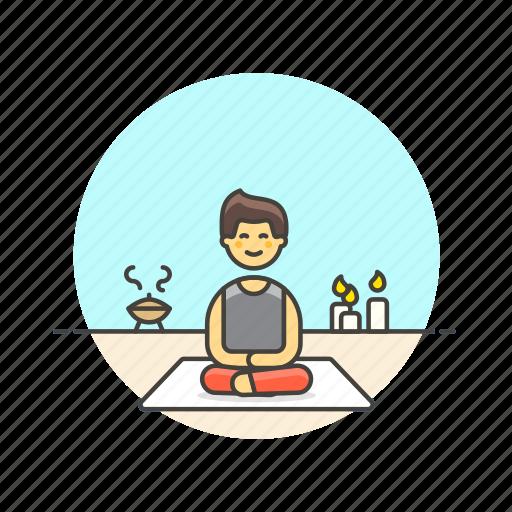 body, hobby, lifestyle, man, meditation, relax, spa, zen icon