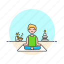 lifestyle, man, meditation, relax, spa, yoga, zen icon