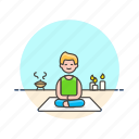 hobby, lifestyle, man, meditation, relax, spa, yoga, zen icon