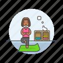 balance, hobby, lifestyle, mat, relax, woman, yoga icon