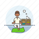 balance, exercise, lifestyle, man, mat, yoga, zen icon
