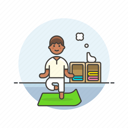 balance, exercise, lifestyle, man, mat, yoga, zen icon