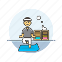 balance, body, hobby, lifestyle, man, relax, yoga, zen icon
