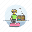 balance, elder, exercise, lifestyle, man, mat, yoga, zen icon
