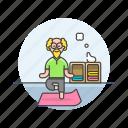 balance, lifestyle, yoga, elder, exercise, man, mat, zen icon