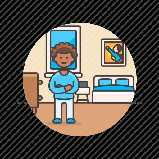 bedroom, bedtime, boy, lifestyle, man, pajamas, rest, sleep icon