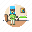 bedroom, bedtime, boy, lifestyle, man, pajamas, rest, sleep icon