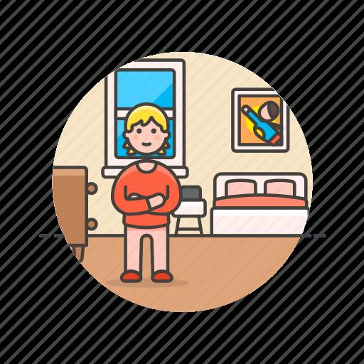bedroom, bedtime, girl, lifestyle, pajamas, rest, sleep, woman icon