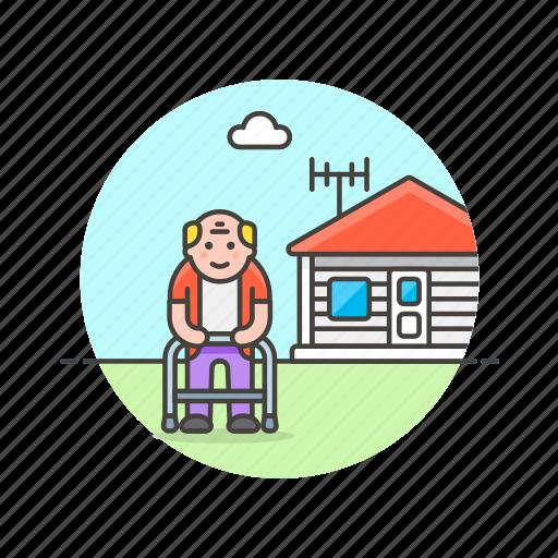 elder, grandfather, home, house, lifestyle, man, rest icon