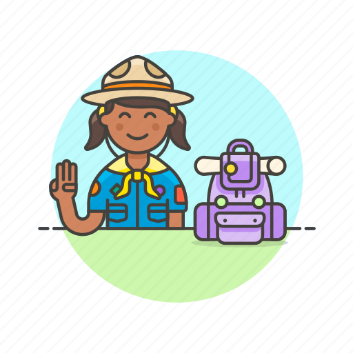 backpack, gesture, hobby, lifestyle, scout, sign, woman icon