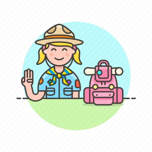 backpack, explore, gesture, lifestyle, scout, sign, woman icon