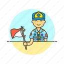 flag, lifestyle, man, scout, semaphore, sign icon