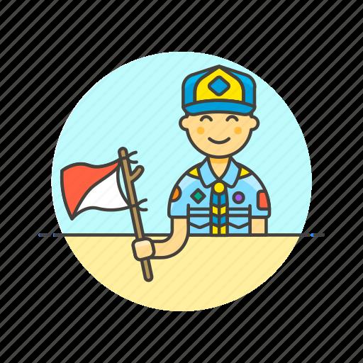 flag, lifestyle, man, scout, semaphore, sign icon