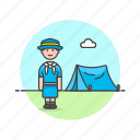 adventure, camping, explore, lifestyle, scout, tent, woman icon