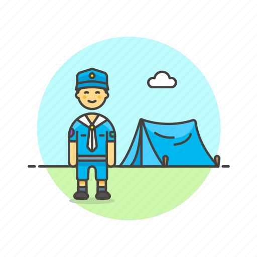 adventure, camping, explore, lifestyle, man, scout, tent icon