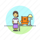 cane, elder, home, lamp, lifestyle, rest, woman icon